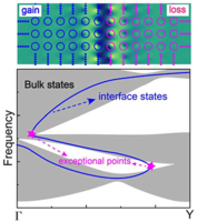Exceptional points and their coalescence of $\mathcal{PT}$-symmetric interface states in photonic crystals